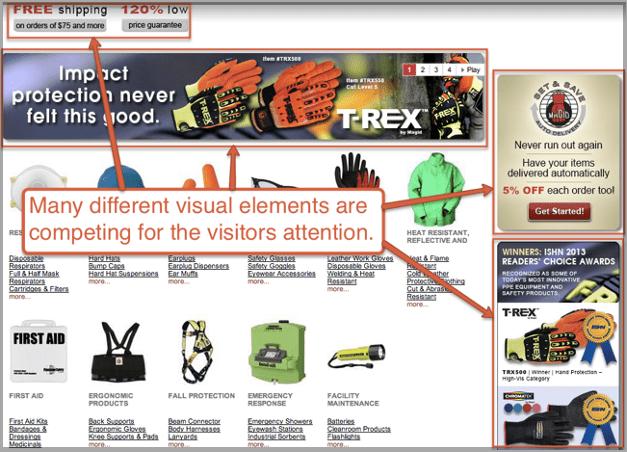 Advertising clutter on website